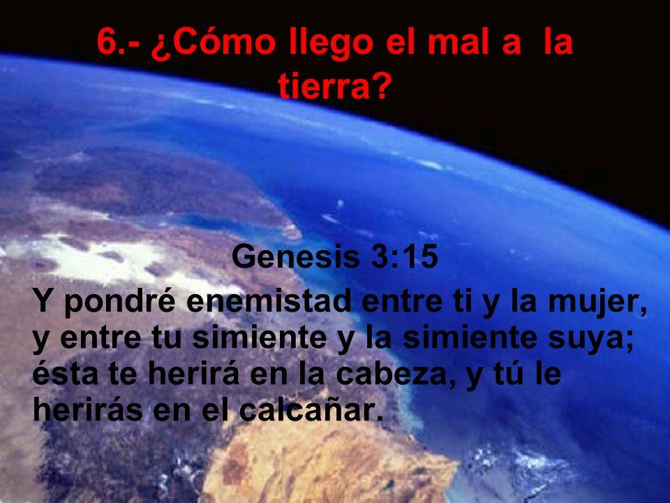 6.- ¿Cómo llego el mal a la tierra? Genesis 3:15 Y pondré enemistad entre ti y la mujer, y entre tu simiente y la simiente suya; ésta te herirá en la