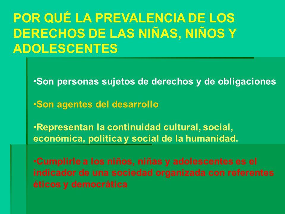 POR QUÉ LA PREVALENCIA DE LOS DERECHOS DE LAS NIÑAS, NIÑOS Y ADOLESCENTES Son personas sujetos de derechos y de obligaciones Son agentes del desarroll