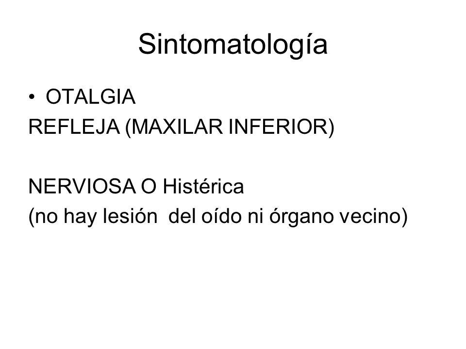 Sintomatología OTALGIA REFLEJA (MAXILAR INFERIOR) NERVIOSA O Histérica (no hay lesión del oído ni órgano vecino)