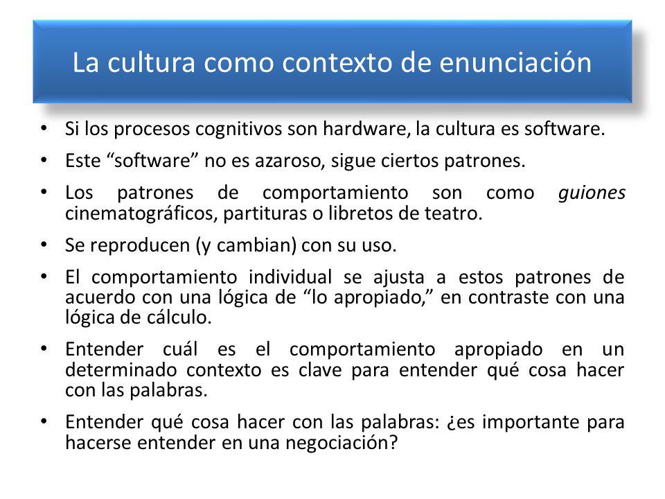 La cultura como contexto de enunciación Si los procesos cognitivos son hardware, la cultura es software. Este software no es azaroso, sigue ciertos pa