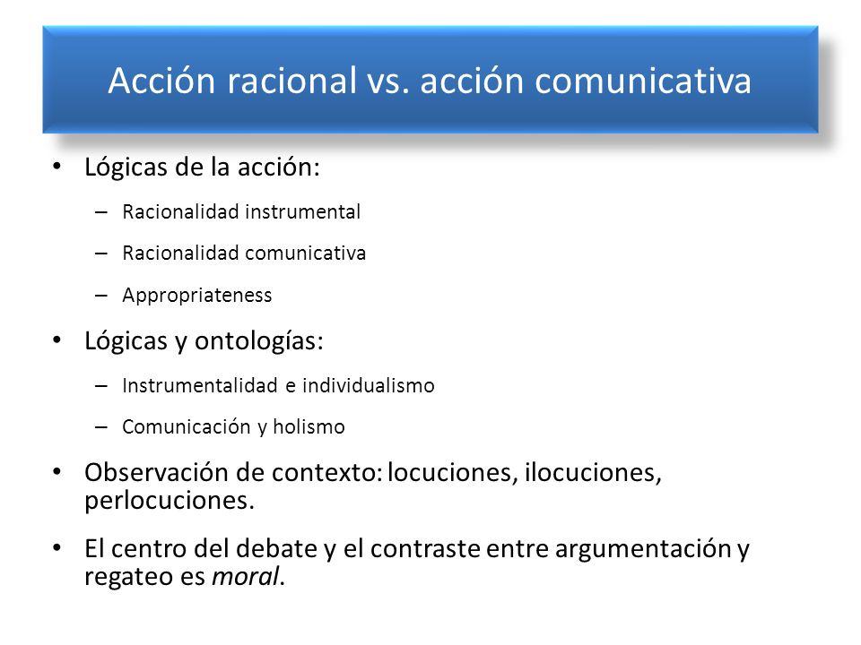 Acción racional vs. acción comunicativa Lógicas de la acción: – Racionalidad instrumental – Racionalidad comunicativa – Appropriateness Lógicas y onto
