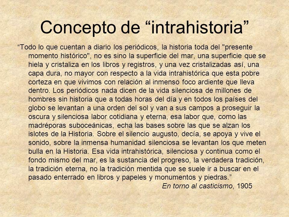 Concepto de intrahistoria Todo lo que cuentan a diario los periódicos, la historia toda del