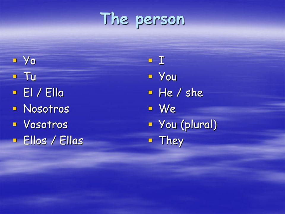 The person Yo Yo Tu Tu El / Ella El / Ella Nosotros Nosotros Vosotros Vosotros Ellos / Ellas Ellos / Ellas I You You He / she He / she We We You (plur