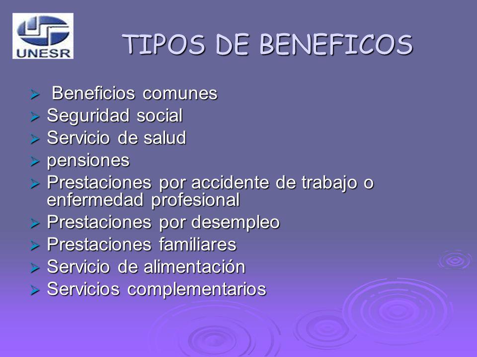 TIPOS DE BENEFICOS Beneficios comunes Beneficios comunes Seguridad social Seguridad social Servicio de salud Servicio de salud pensiones pensiones Pre