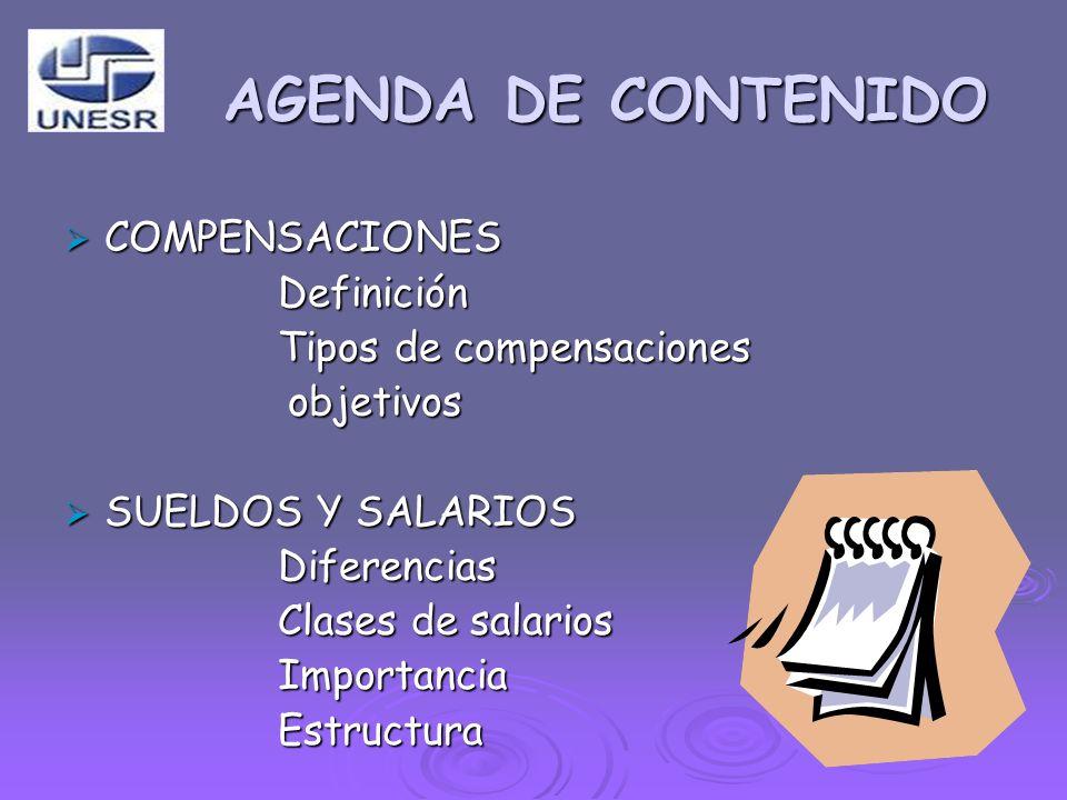 AGENDA DE CONTENIDO COMPENSACIONES COMPENSACIONESDefinición Tipos de compensaciones objetivos objetivos SUELDOS Y SALARIOS SUELDOS Y SALARIOSDiferenci