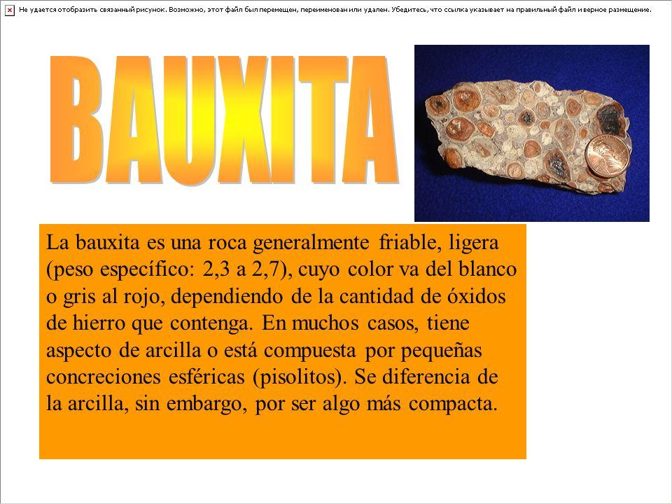 La bauxita es una roca generalmente friable, ligera (peso específico: 2,3 a 2,7), cuyo color va del blanco o gris al rojo, dependiendo de la cantidad