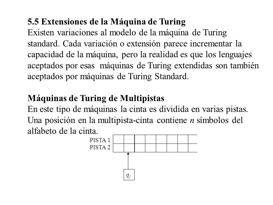 5.5 Extensiones de la Máquina de Turing Existen variaciones al modelo de la máquina de Turing standard. Cada variación o extensión parece incrementar