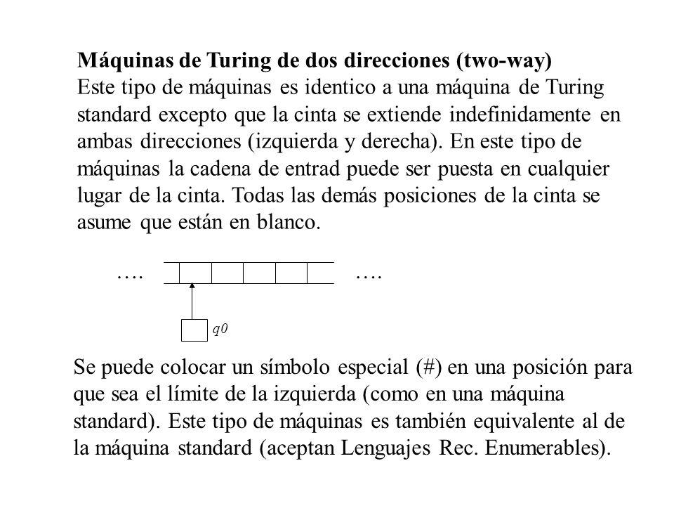 Máquinas de Turing de dos direcciones (two-way) Este tipo de máquinas es identico a una máquina de Turing standard excepto que la cinta se extiende in