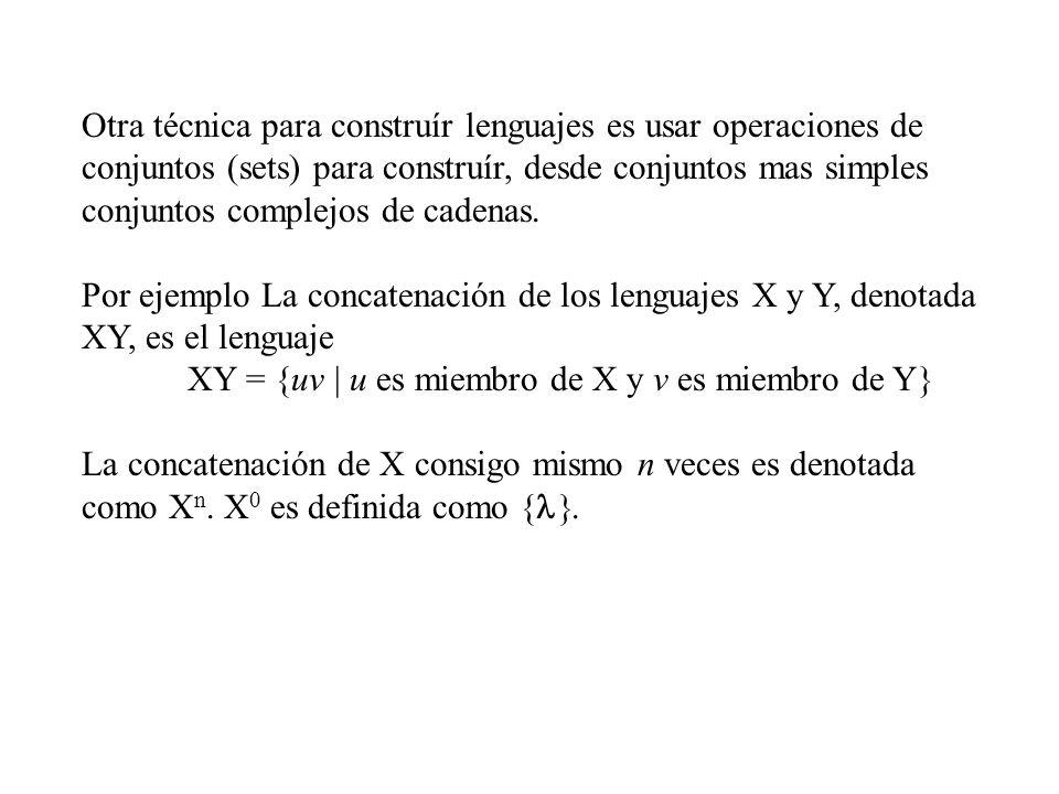 Otra técnica para construír lenguajes es usar operaciones de conjuntos (sets) para construír, desde conjuntos mas simples conjuntos complejos de caden
