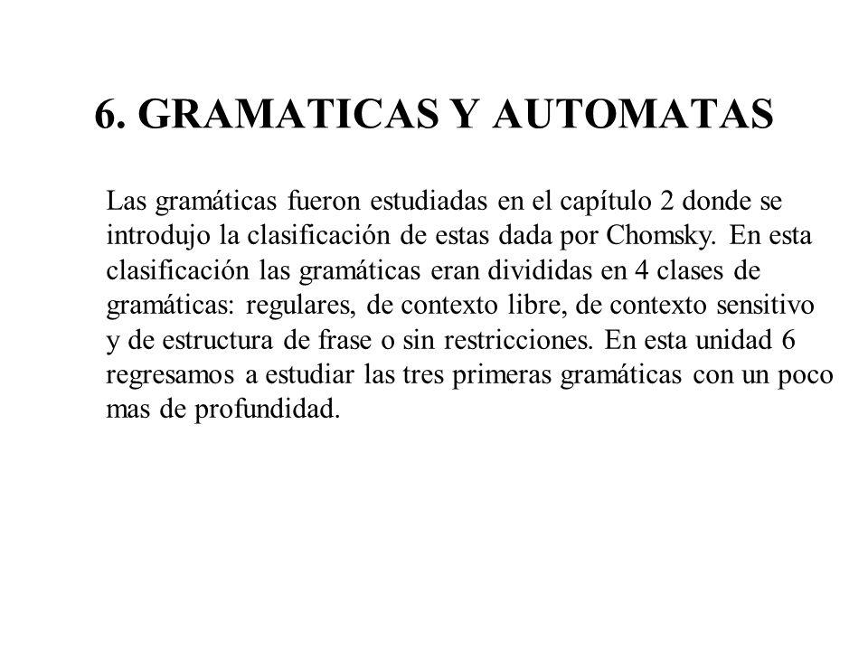 6. GRAMATICAS Y AUTOMATAS Las gramáticas fueron estudiadas en el capítulo 2 donde se introdujo la clasificación de estas dada por Chomsky. En esta cla