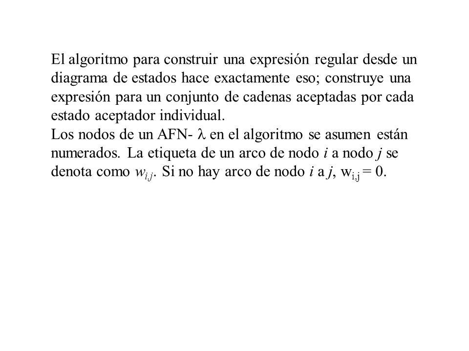 El algoritmo para construir una expresión regular desde un diagrama de estados hace exactamente eso; construye una expresión para un conjunto de caden