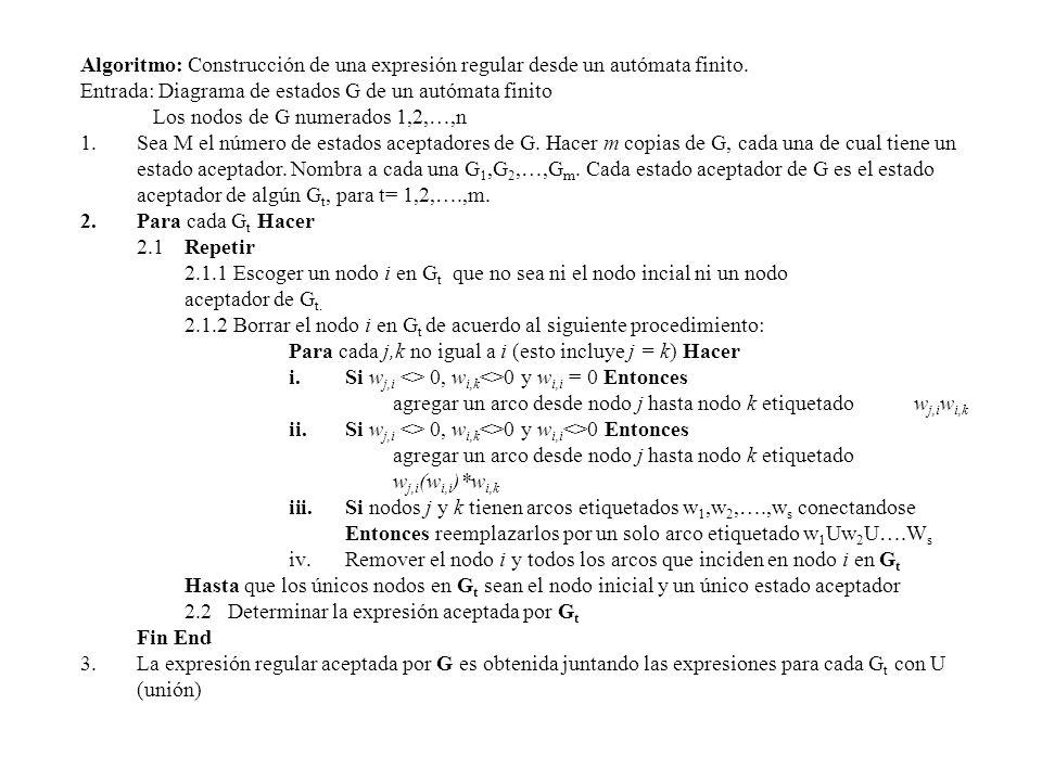 Algoritmo: Construcción de una expresión regular desde un autómata finito. Entrada: Diagrama de estados G de un autómata finito Los nodos de G numerad