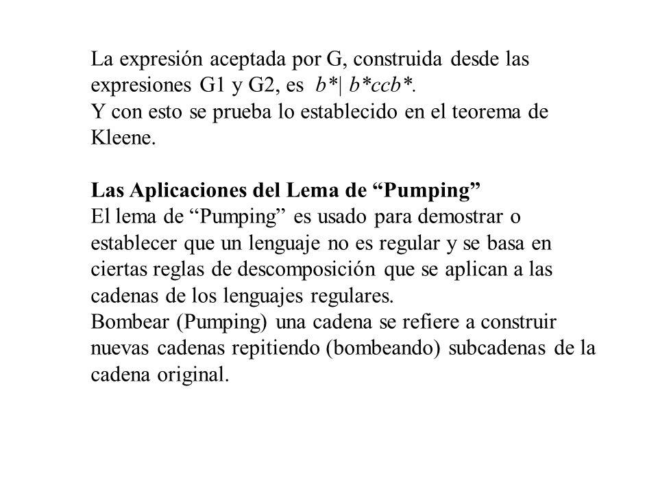 La expresión aceptada por G, construida desde las expresiones G1 y G2, es b*| b*ccb*. Y con esto se prueba lo establecido en el teorema de Kleene. Las