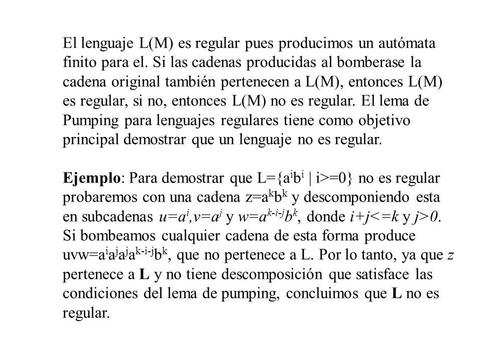 El lenguaje L(M) es regular pues producimos un autómata finito para el. Si las cadenas producidas al bomberase la cadena original también pertenecen a