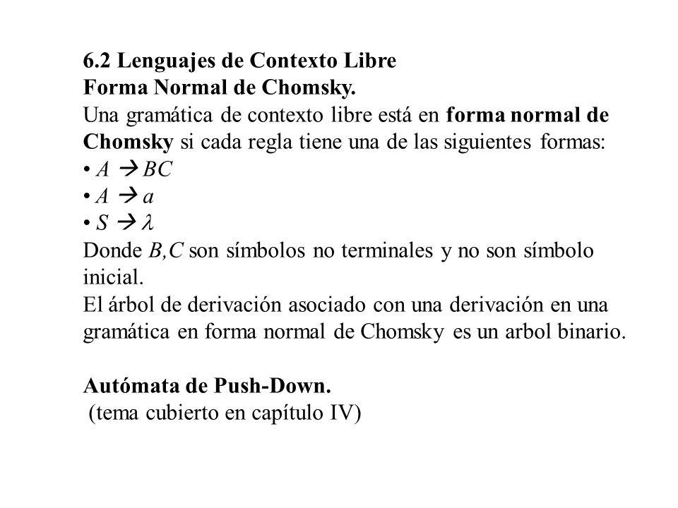 6.2 Lenguajes de Contexto Libre Forma Normal de Chomsky. Una gramática de contexto libre está en forma normal de Chomsky si cada regla tiene una de la
