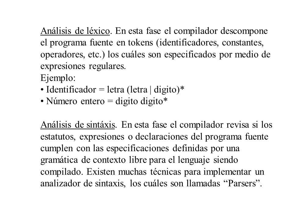 Análisis de léxico. En esta fase el compilador descompone el programa fuente en tokens (identificadores, constantes, operadores, etc.) los cuáles son