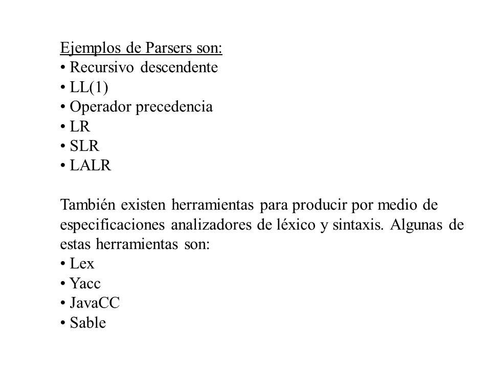 Ejemplos de Parsers son: Recursivo descendente LL(1) Operador precedencia LR SLR LALR También existen herramientas para producir por medio de especifi