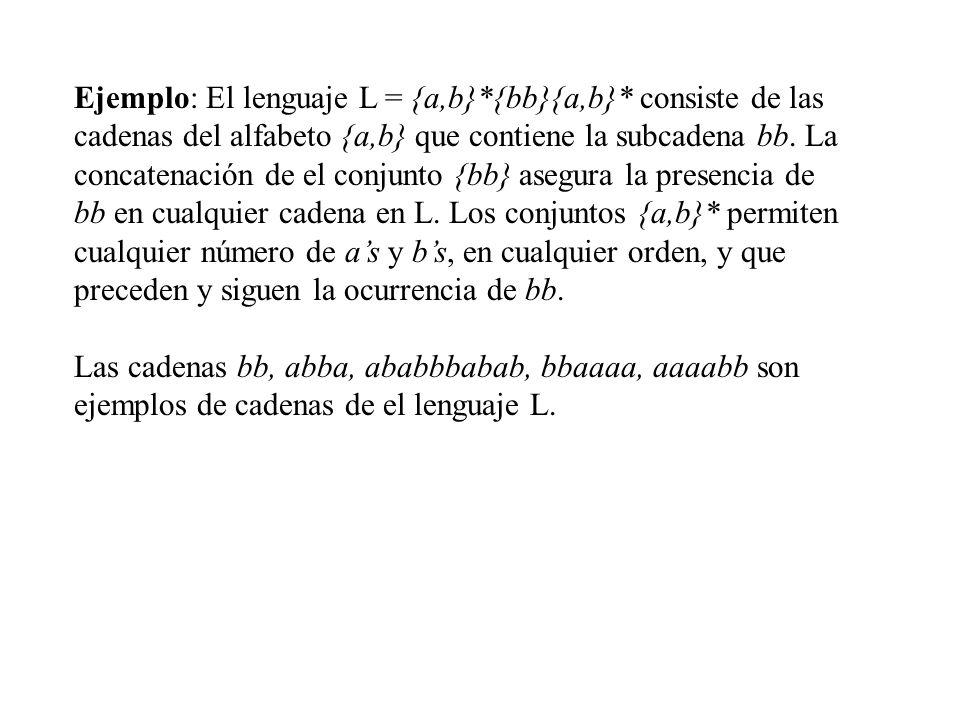 Ejemplo: El lenguaje L = {a,b}*{bb}{a,b}* consiste de las cadenas del alfabeto {a,b} que contiene la subcadena bb. La concatenación de el conjunto {bb