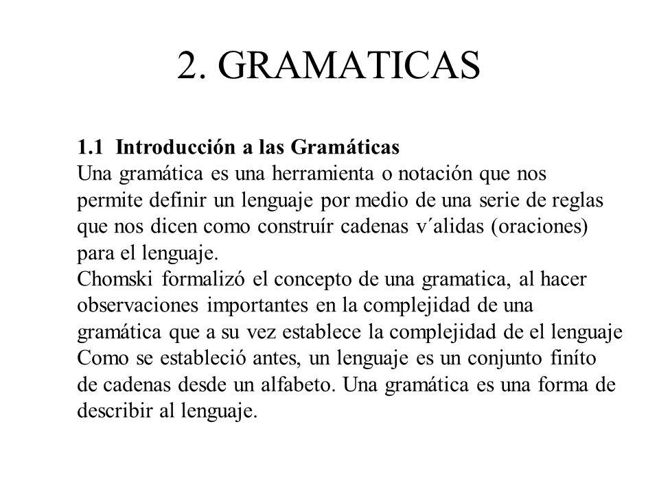 2. GRAMATICAS 1.1 Introducción a las Gramáticas Una gramática es una herramienta o notación que nos permite definir un lenguaje por medio de una serie