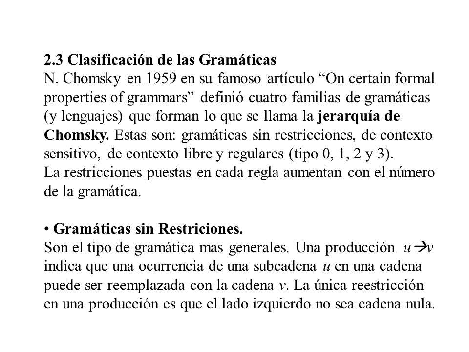 2.3 Clasificación de las Gramáticas N. Chomsky en 1959 en su famoso artículo On certain formal properties of grammars definió cuatro familias de gramá