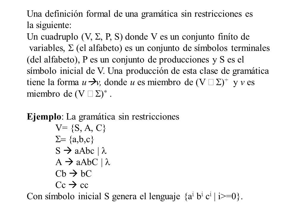Una definición formal de una gramática sin restricciones es la siguiente: Un cuadruplo (V, P, S) donde V es un conjunto finíto de variables, el alfabe