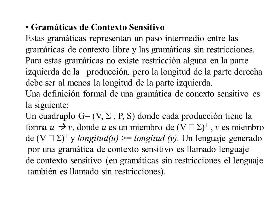 Gramáticas de Contexto Sensitivo Estas gramáticas representan un paso intermedio entre las gramáticas de contexto libre y las gramáticas sin restricci