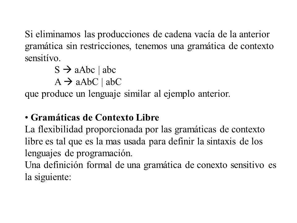 Si eliminamos las producciones de cadena vacía de la anterior gramática sin restricciones, tenemos una gramática de contexto sensitívo. S aAbc | abc A