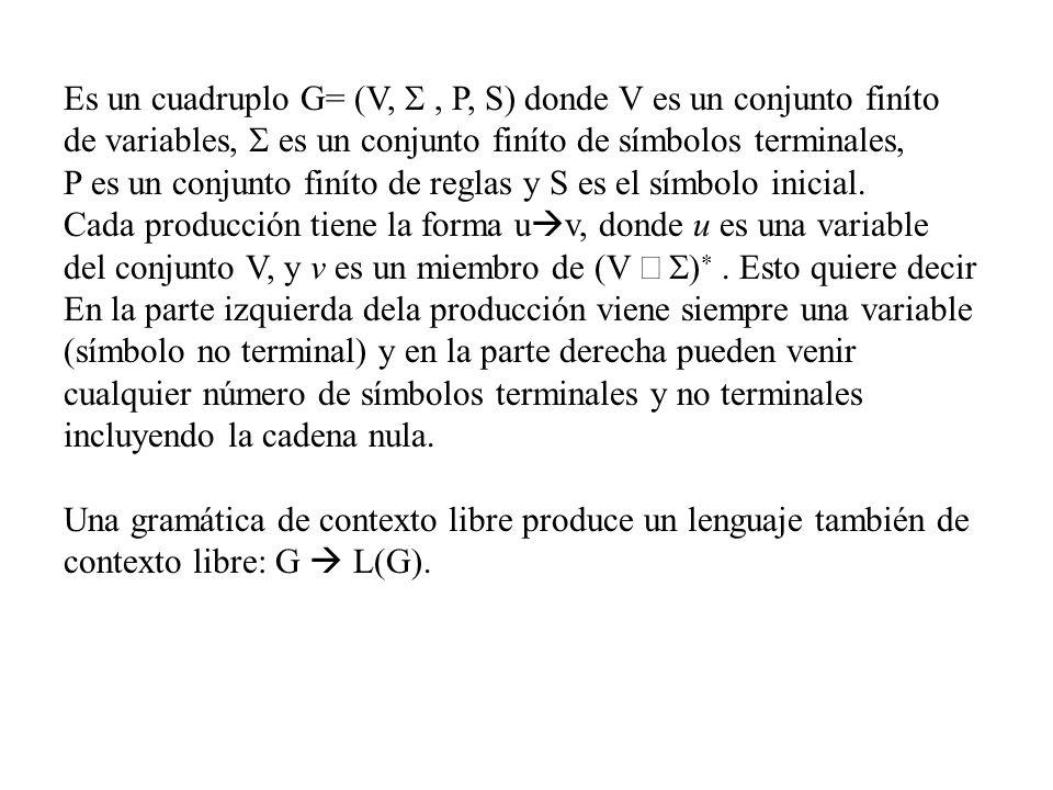 Es un cuadruplo G= (V,, P, S) donde V es un conjunto finíto de variables, es un conjunto finíto de símbolos terminales, P es un conjunto finíto de reg