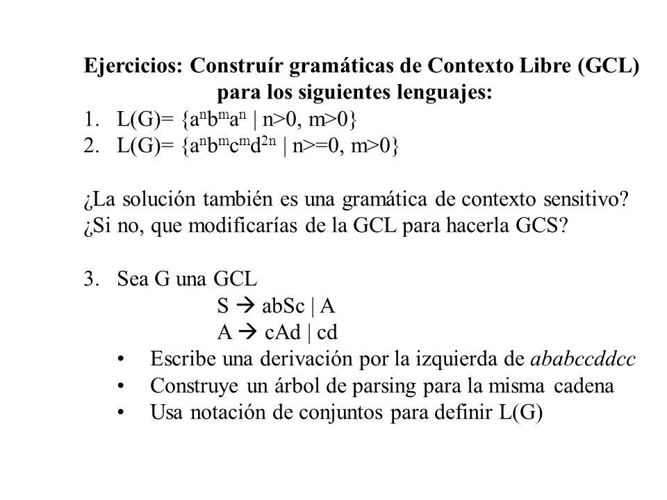 Ejercicios: Construír gramáticas de Contexto Libre (GCL) para los siguientes lenguajes: 1.L(G)= {a n b m a n | n>0, m>0} 2.L(G)= {a n b m c m d 2n | n