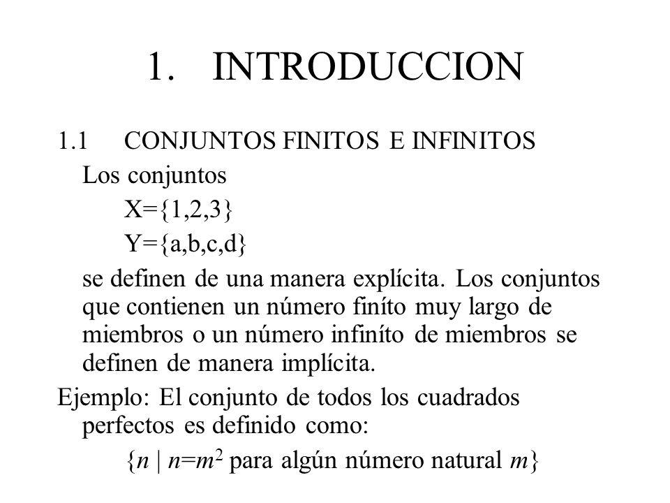 1.INTRODUCCION 1.1CONJUNTOS FINITOS E INFINITOS Los conjuntos X={1,2,3} Y={a,b,c,d} se definen de una manera explícita. Los conjuntos que contienen un