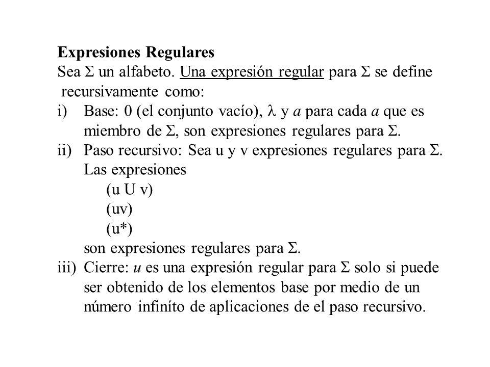 Expresiones Regulares Sea un alfabeto. Una expresión regular para se define recursivamente como: i)Base: 0 (el conjunto vacío), y a para cada a que es