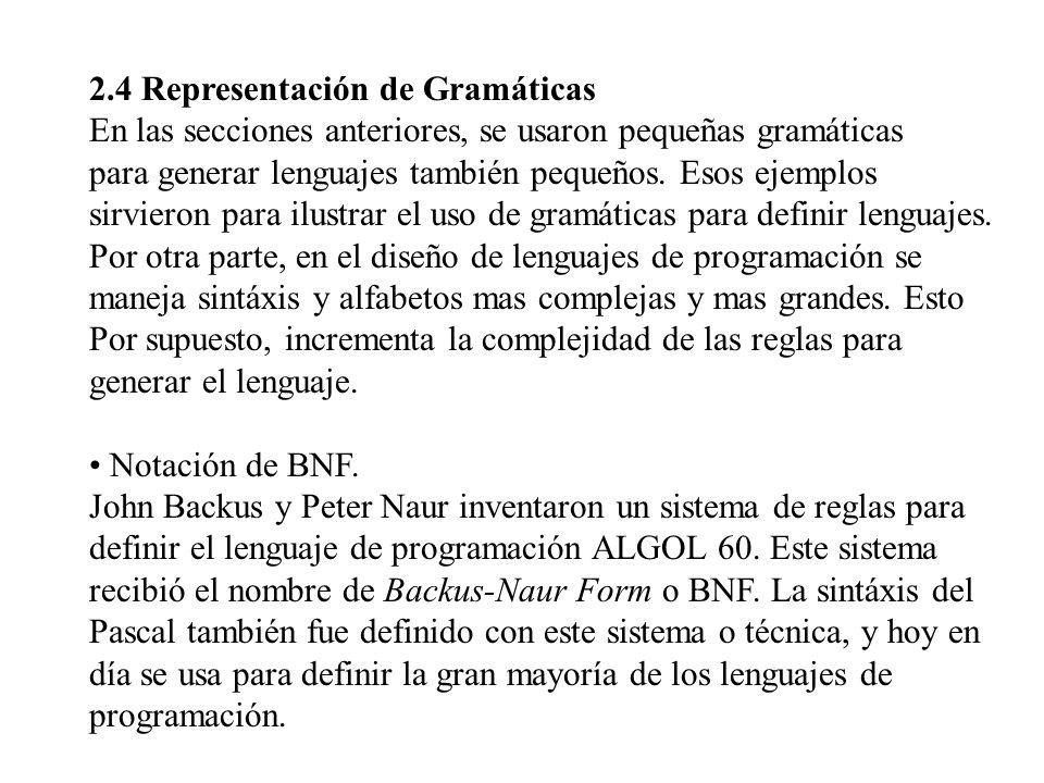 2.4 Representación de Gramáticas En las secciones anteriores, se usaron pequeñas gramáticas para generar lenguajes también pequeños. Esos ejemplos sir