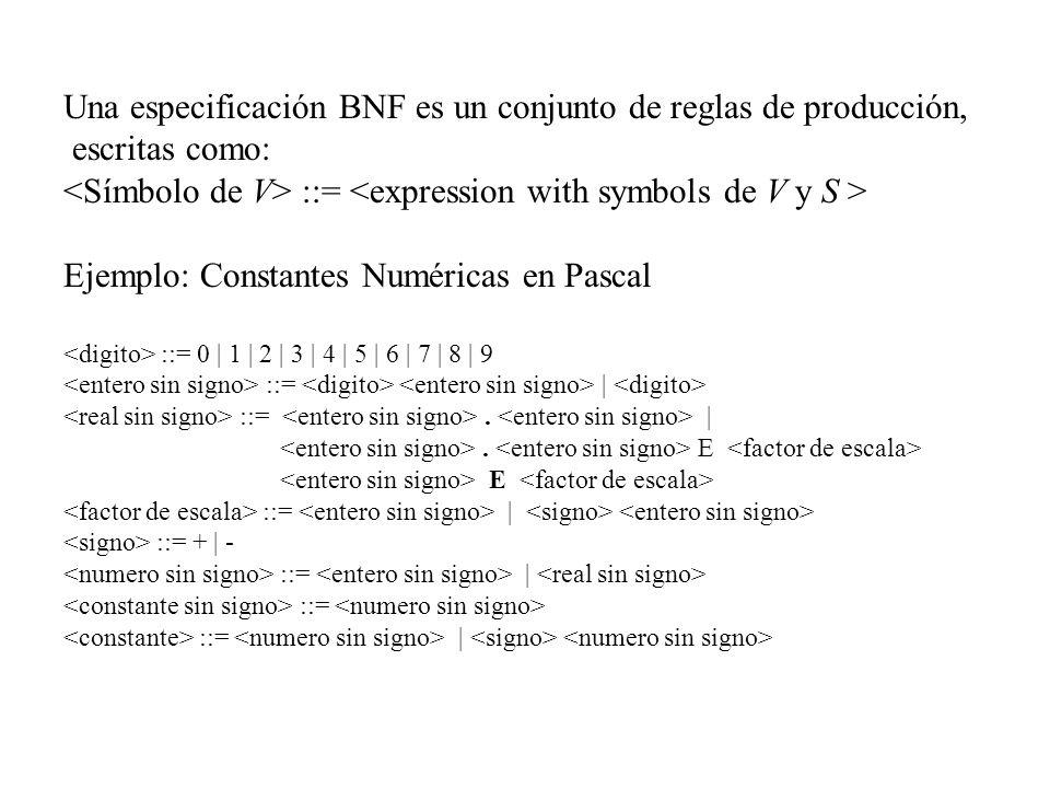 Una especificación BNF es un conjunto de reglas de producción, escritas como: ::= Ejemplo: Constantes Numéricas en Pascal ::= 0 | 1 | 2 | 3 | 4 | 5 |