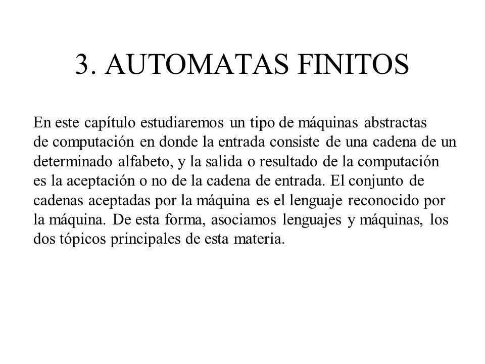 3. AUTOMATAS FINITOS En este capítulo estudiaremos un tipo de máquinas abstractas de computación en donde la entrada consiste de una cadena de un dete