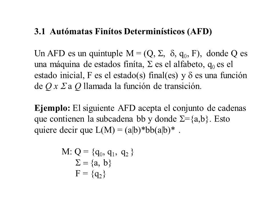 3.1 Autómatas Finítos Determinísticos (AFD) Un AFD es un quintuple M = (Q, q 0, F), donde Q es una máquina de estados finíta, es el alfabeto, q 0 es e