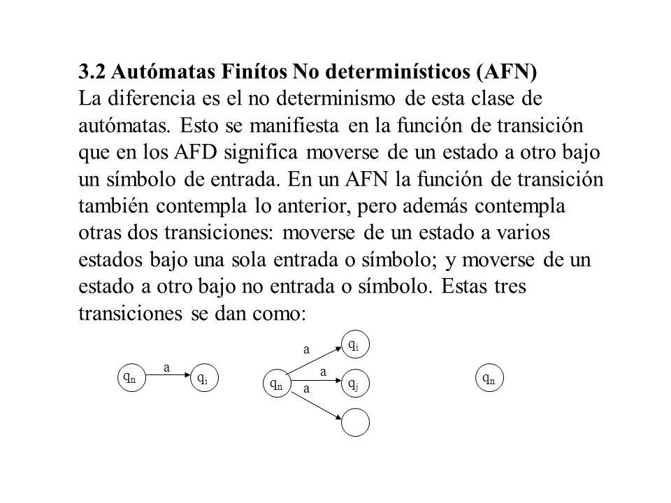 3.2 Autómatas Finítos No determinísticos (AFN) La diferencia es el no determinismo de esta clase de autómatas. Esto se manifiesta en la función de tra