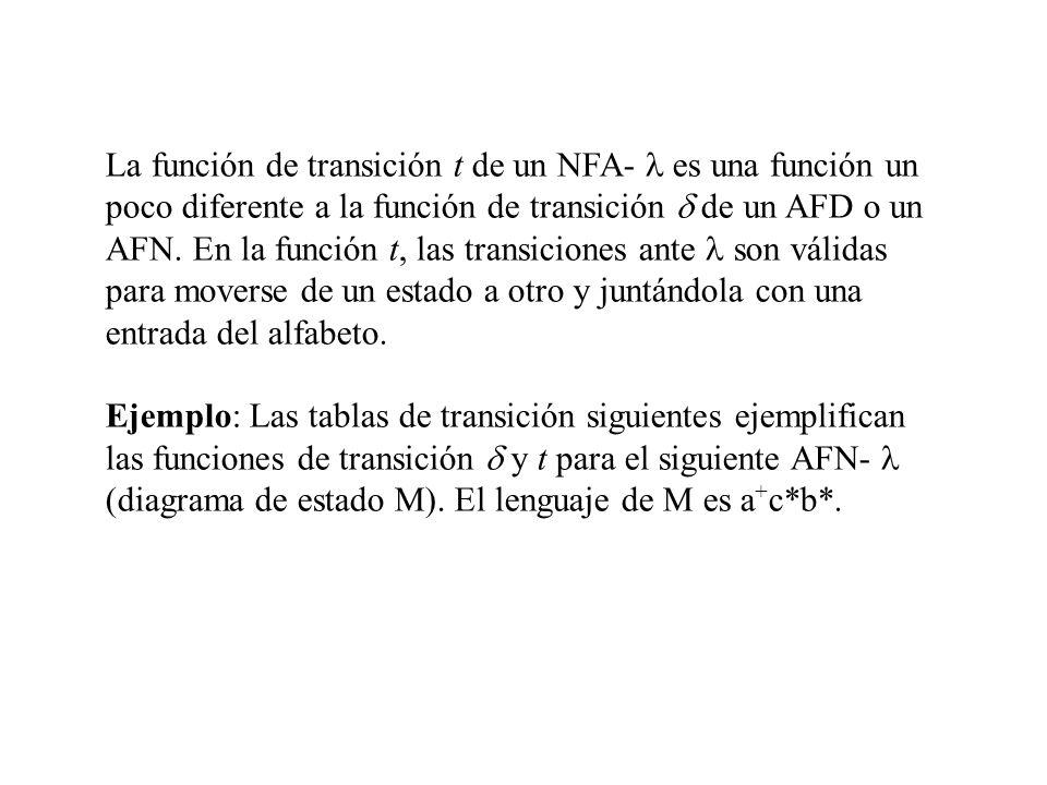 La función de transición t de un NFA- es una función un poco diferente a la función de transición de un AFD o un AFN. En la función t, las transicione