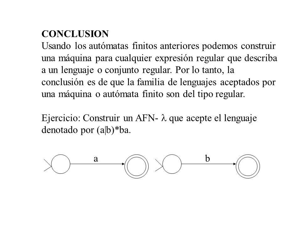 CONCLUSION Usando los autómatas finitos anteriores podemos construir una máquina para cualquier expresión regular que describa a un lenguaje o conjunt