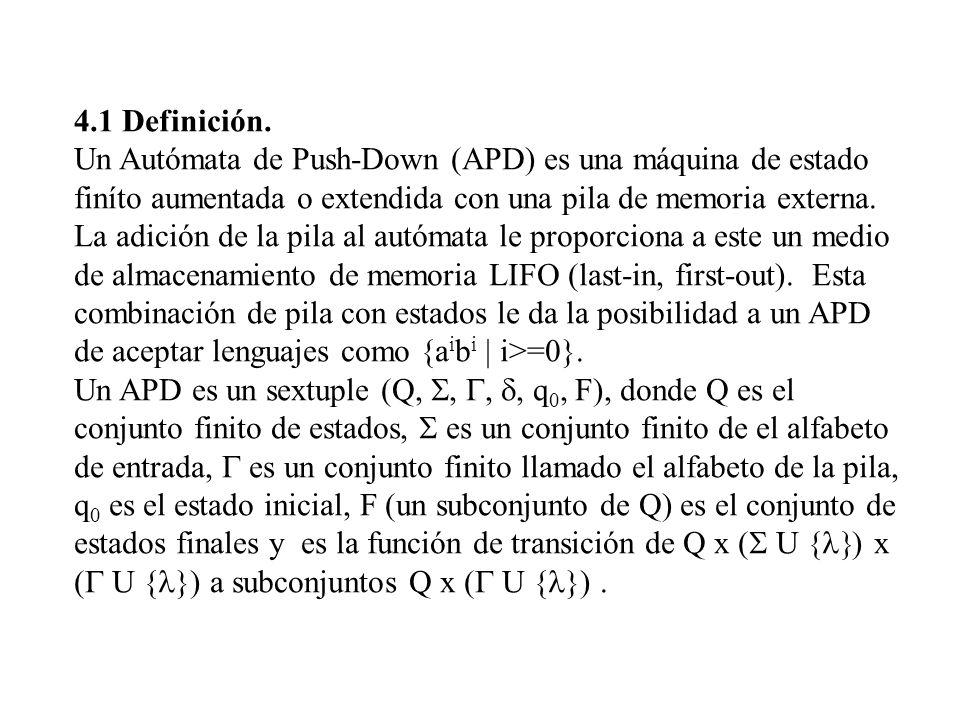 4.1 Definición. Un Autómata de Push-Down (APD) es una máquina de estado finíto aumentada o extendida con una pila de memoria externa. La adición de la