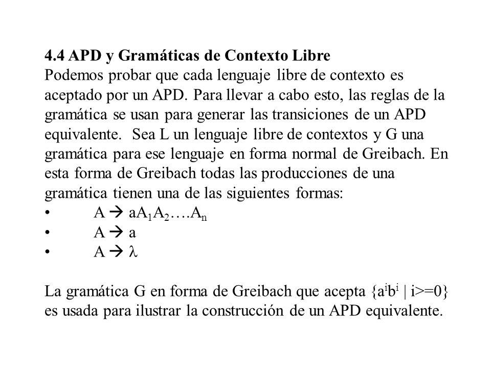 4.4 APD y Gramáticas de Contexto Libre Podemos probar que cada lenguaje libre de contexto es aceptado por un APD. Para llevar a cabo esto, las reglas