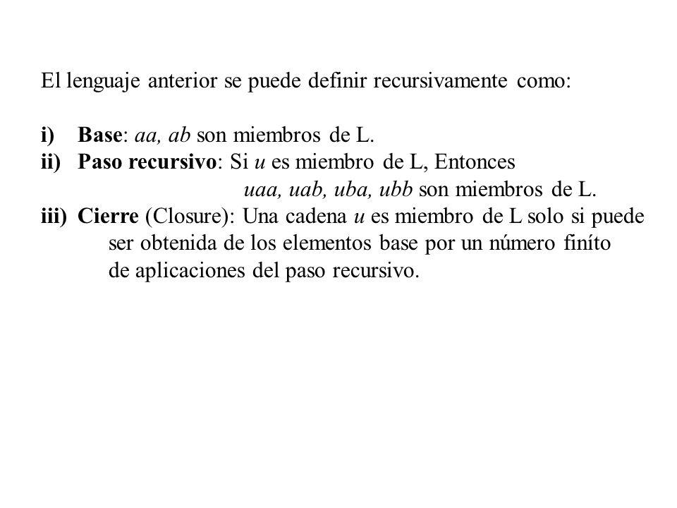 El lenguaje anterior se puede definir recursivamente como: i)Base: aa, ab son miembros de L. ii)Paso recursivo: Si u es miembro de L, Entonces uaa, ua