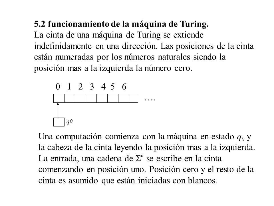 5.2 funcionamiento de la máquina de Turing. La cinta de una máquina de Turing se extiende indefinidamente en una dirección. Las posiciones de la cinta