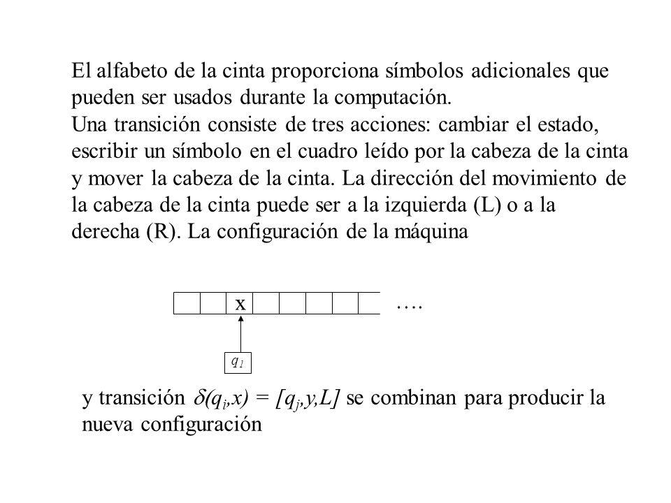 El alfabeto de la cinta proporciona símbolos adicionales que pueden ser usados durante la computación. Una transición consiste de tres acciones: cambi