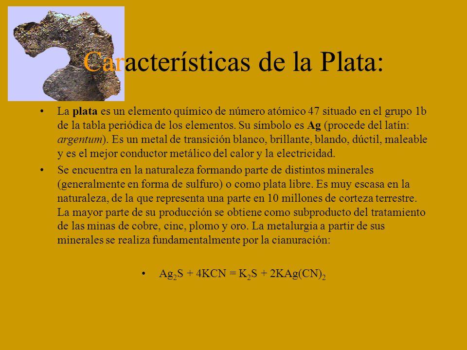 Características de la Plata: La plata es un elemento químico de número atómico 47 situado en el grupo 1b de la tabla periódica de los elementos. Su sí