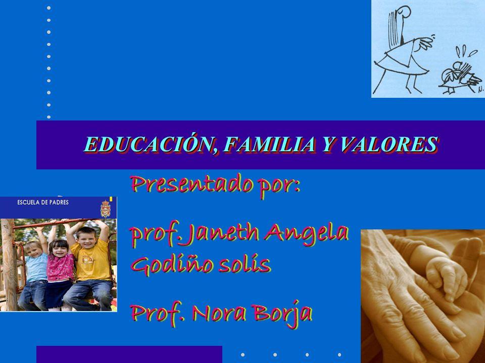 EDUCACIÓN, FAMILIA Y VALORES EDUCACIÓN, FAMILIA Y VALORES Presentado por: prof.