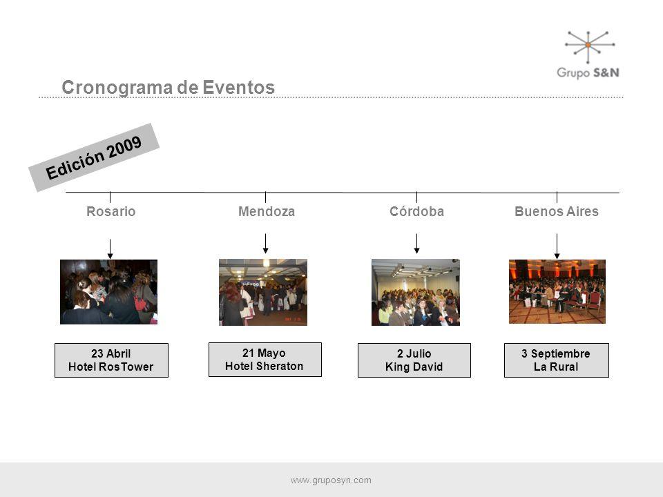 www.gruposyn.com Cronograma de Eventos Buenos Aires Rosario 23 Abril Hotel RosTower Mendoza 21 Mayo Hotel Sheraton Córdoba 2 Julio King David 3 Septiembre La Rural Edición 2009