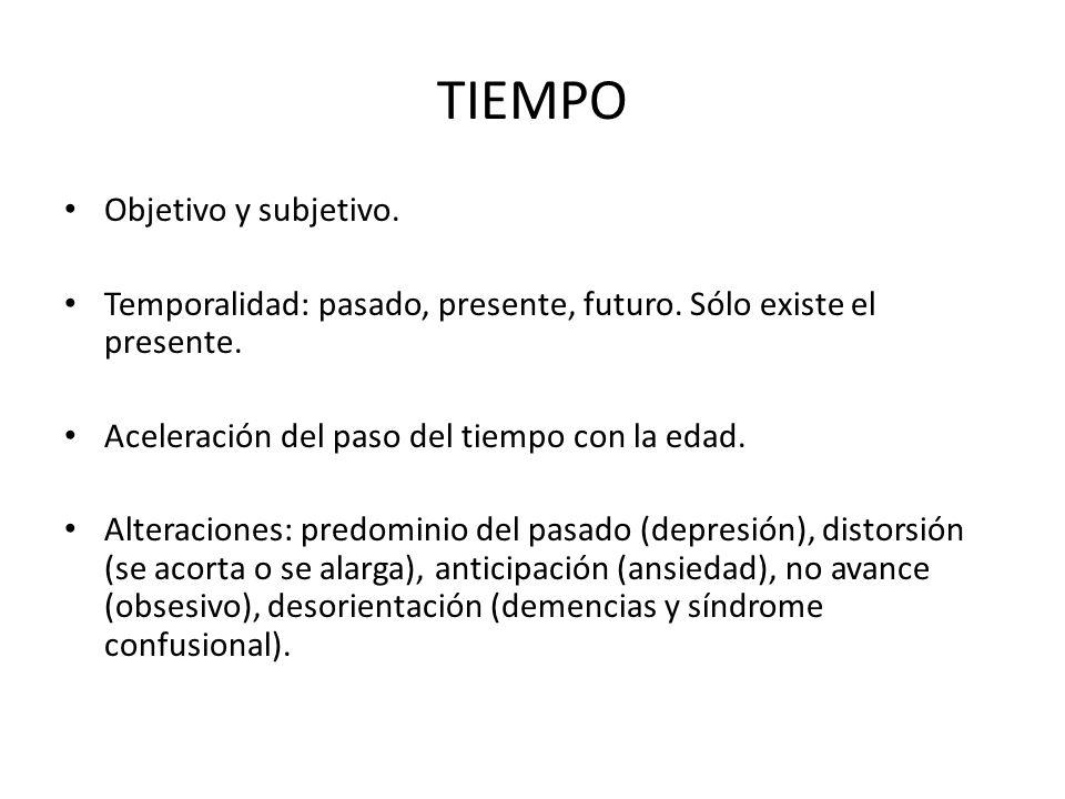 TIEMPO Objetivo y subjetivo. Temporalidad: pasado, presente, futuro. Sólo existe el presente. Aceleración del paso del tiempo con la edad. Alteracione