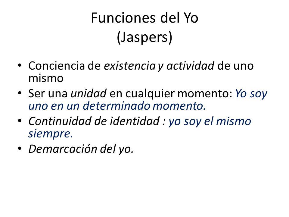 Funciones del Yo (Jaspers) Conciencia de existencia y actividad de uno mismo Ser una unidad en cualquier momento: Yo soy uno en un determinado momento