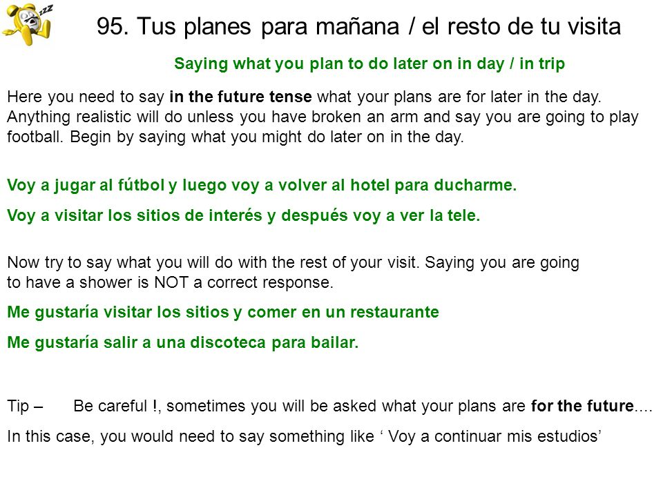 94. Adónde prefieres ir y por qué Saying where you want to go and why Here you need to give a place and say why you want to go there. First of all say