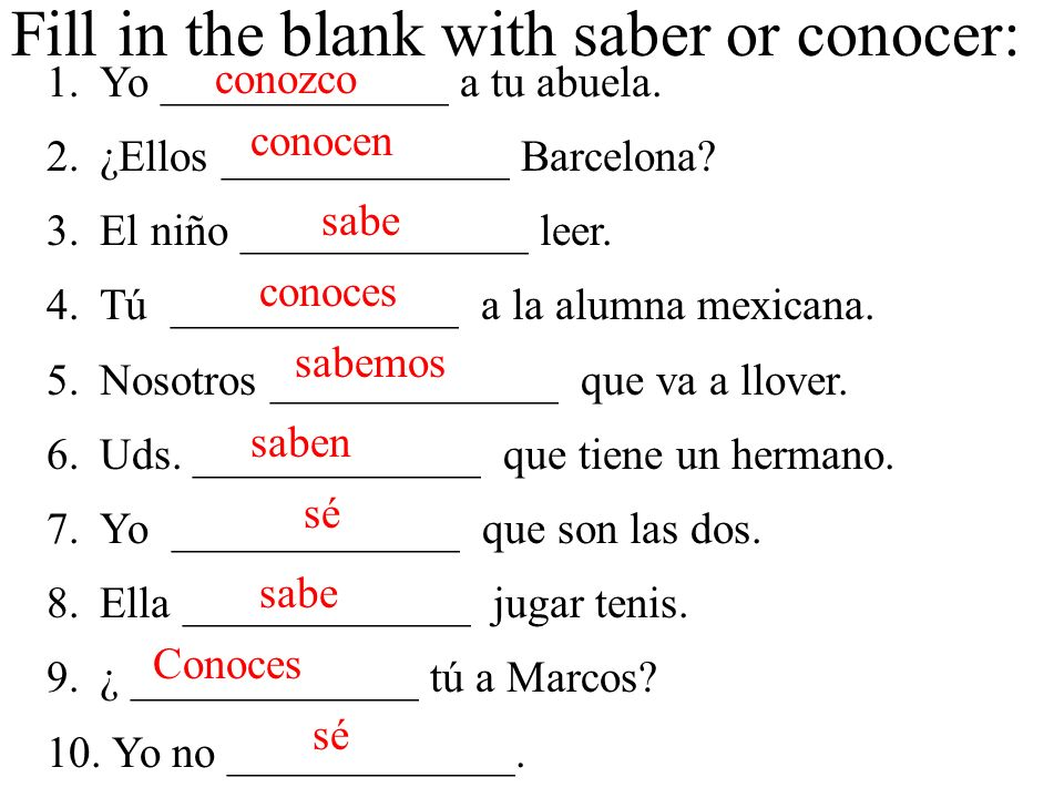 Fill in the blank with saber or conocer: 1.Yo _____________ a tu abuela.